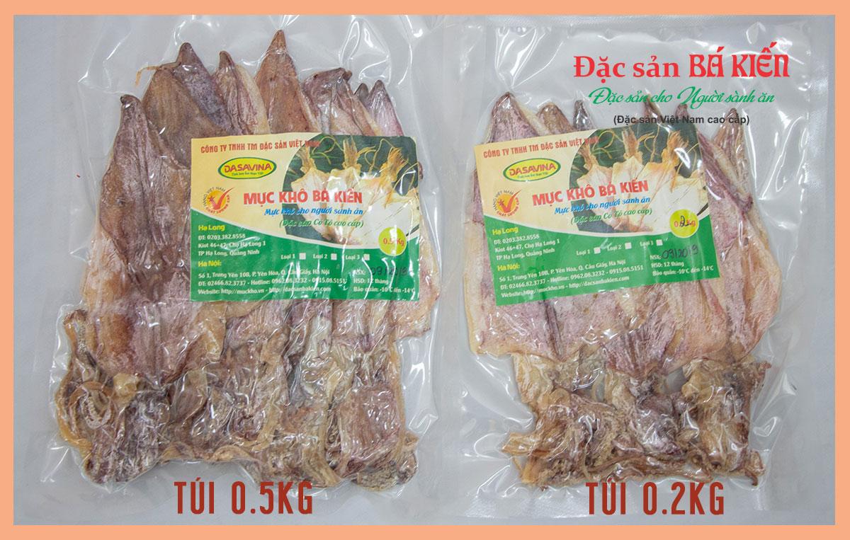 Gói mực khô loại 4 giữa 0.5kg và 0.2kg