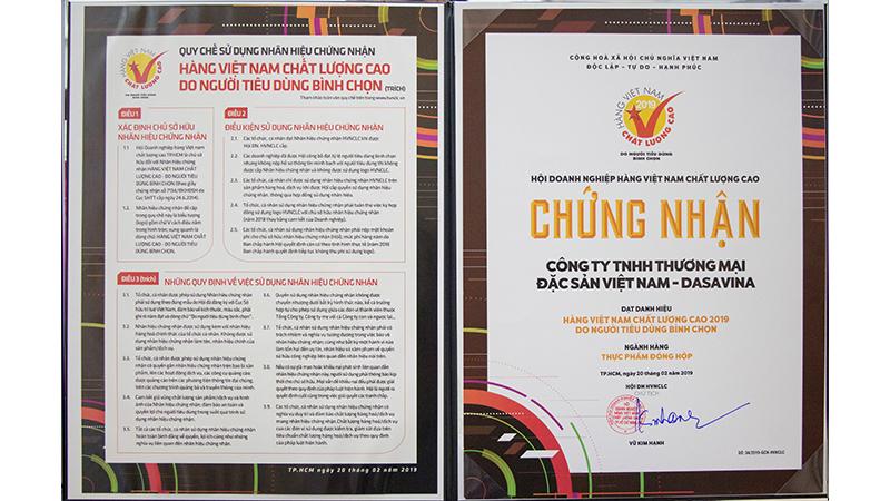 Chứng nhận hàng Việt Nam chất lượng cao 2019 do người tiêu dùng bình chọn
